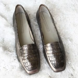 Enzo Angiolini Crocodile Pewter/ Bronze Loafers